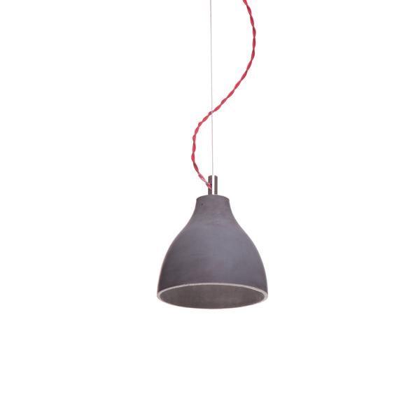 decode Heavy Light Pendel H2 Mörk Betong med Röd Tygsladd