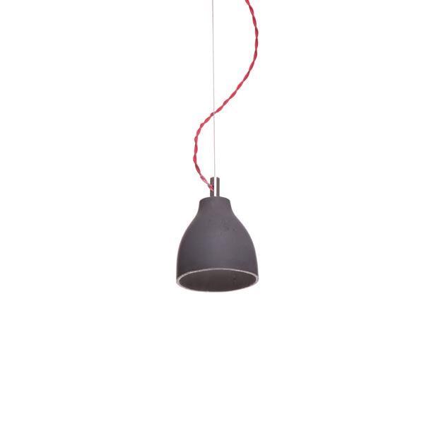 decode Heavy Light Pendel H3 Mörk Betong med Röd Tygsladd