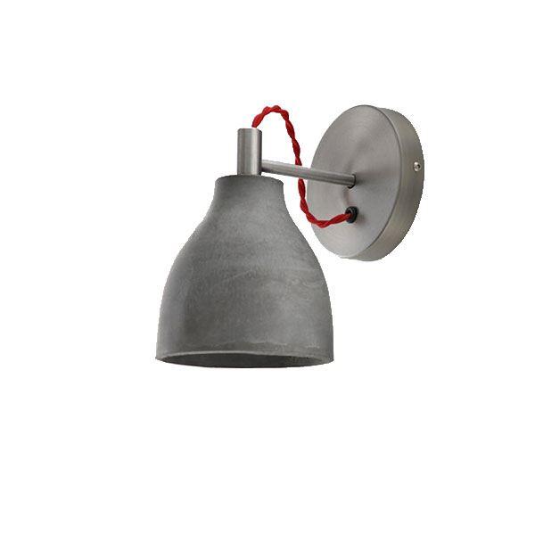 decode Heavy Wall Light Vägglampa Mörk Betong med Röd Tygsladd