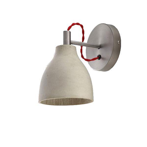 decode Heavy Wall Light Vägglampa Grå Betong med Röd Tygsladd
