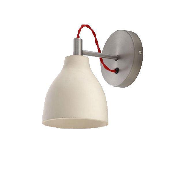 decode Heavy Wall Light Vägglampa Vit Betong med Röd Tygsladd