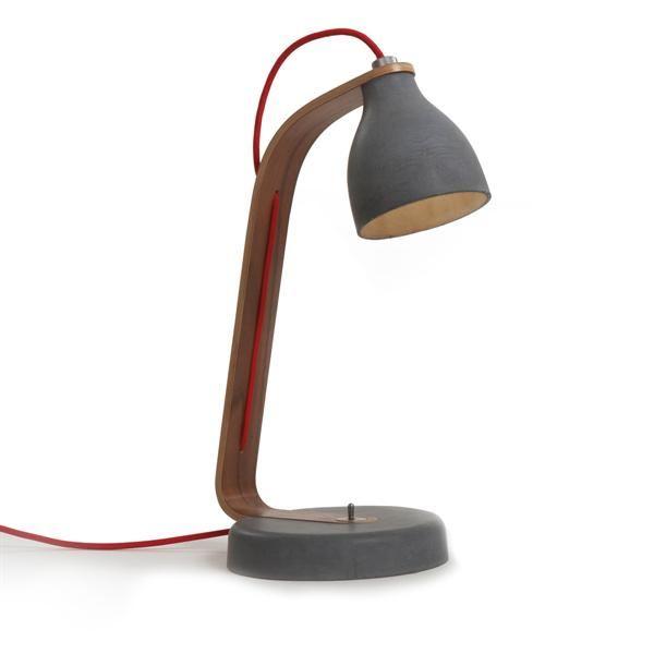 decode Heavy Desk Light Bordslampa Mörk Betong med Valnöt